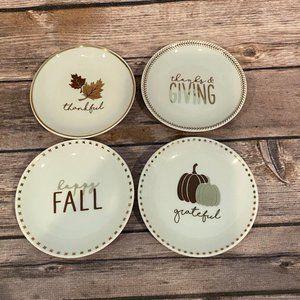 NWT Mud Pie Thanksgiving Small Plates, Set of 4